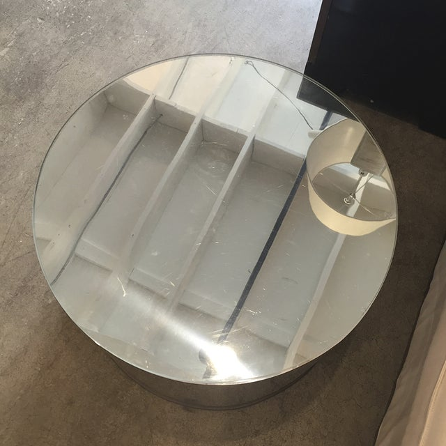Chrome Drum Coffee Table: Mirrored Chrome Drum Side Table