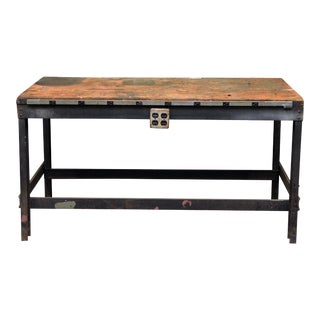 Industrial Wood Top Work Table