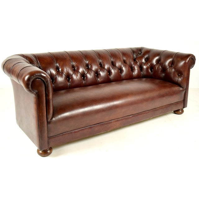 vintage chesterfield leather sofa chairish. Black Bedroom Furniture Sets. Home Design Ideas
