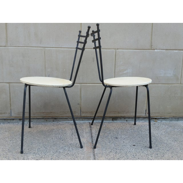 Mid-Century Petite Wrought Iron Cafe Chairs - Pair - Image 5 of 9