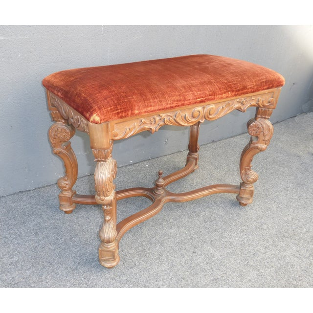 Antique Ornate Carved Orange Velvet Bench - Image 4 of 10