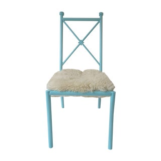Turquoise Vintage Chair with Fleece Seat