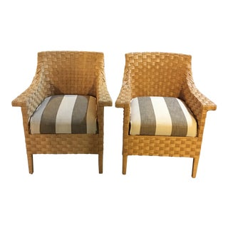Vintage Woven Palacek Chairs - A Pair