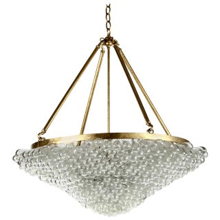 Large Blown Glass Beaded Chandelier