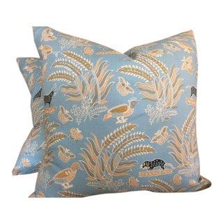 Quadrille China Seas Pillows in French Blue Malay Batik Cotton - a Pair