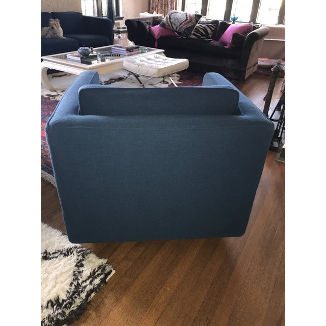 1970s Marden Mid-Century Blue Upholstered Sofa and Chair - Image 9 of 11
