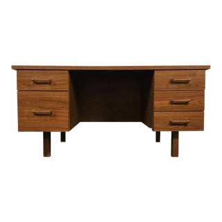 Mid-Century Modern Style Maple Laminate and Brass Desk