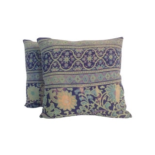 1970s Vintage Block Printed Kantha Pillows - Pair