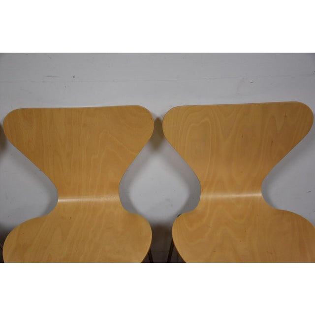 Arne Jacobsen Style Birch Dining Chairs - Set of 4 - Image 7 of 11