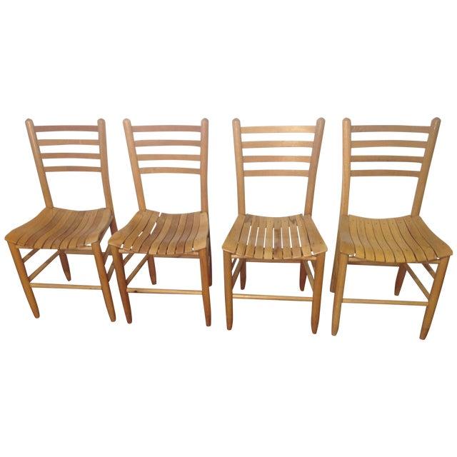 Vintage Sparrow Slat Ladder Back Chairs - Set of 4 - Image 1 of 9