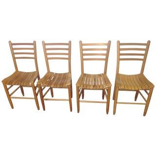 Vintage Sparrow Slat Ladder Back Chairs - Set of 4