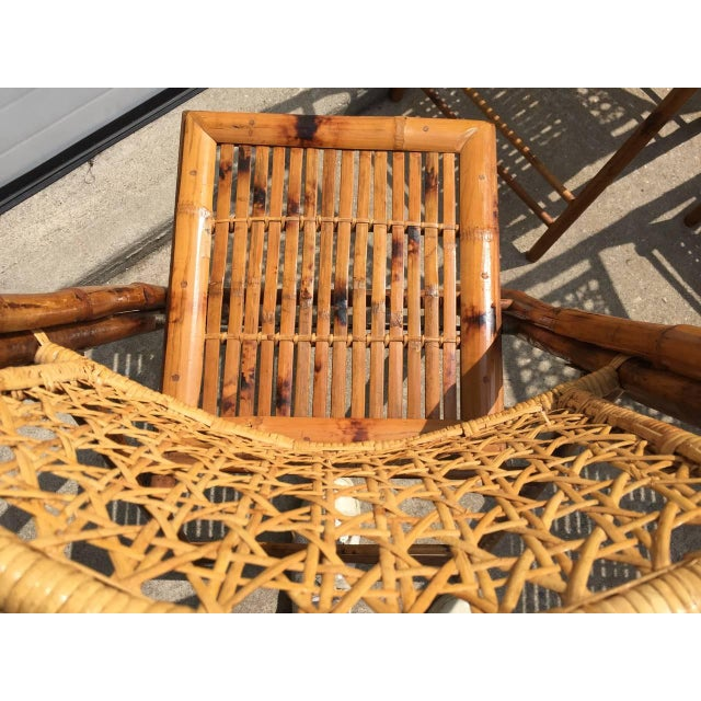 Scorched Bamboo Frame Folding Chairs - Set of Five - Image 7 of 9