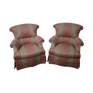 Baker Upholstered Club Chairs - A Pair