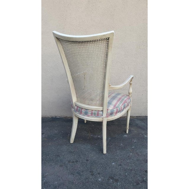 Hollywood Regency Style White Cane Arm Chair - Image 5 of 5