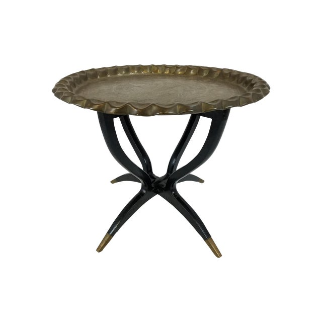 Folding Middle Eastern Travel Table With Brass Top - Image 1 of 5