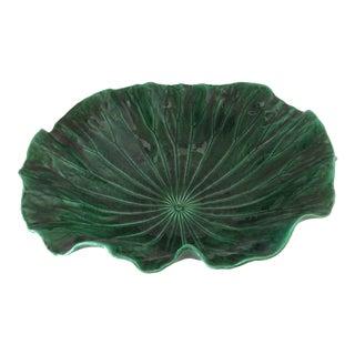 Large Vintage Portugese Green Leaf Bowl