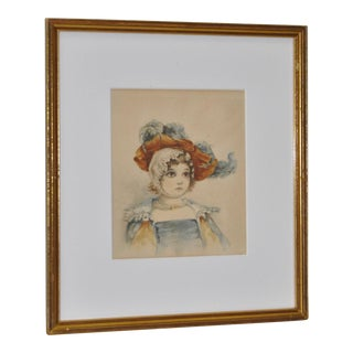 Late 19th Century Young Girl Watercolor Portrait