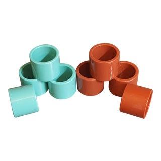 Mid-Century Modern Turquoise & Brown Plastic Napkin Rings - Set of 8