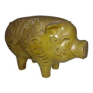 1970s Vintage Green Piggy Bank
