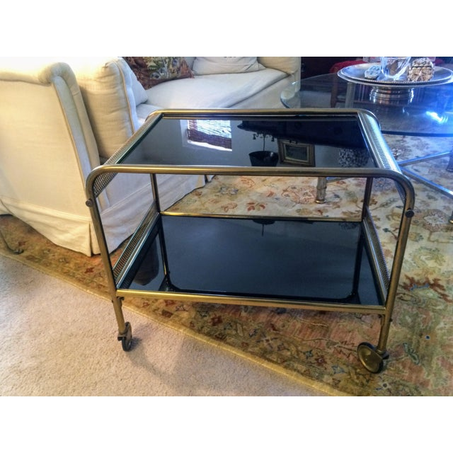 Mid-Century Brass & Black Glass Bar Cart - Image 11 of 11