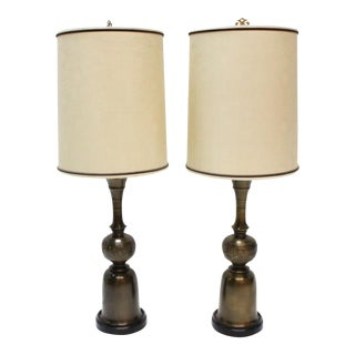 John Mont Style Asian Brass Table Lamps- A Pair