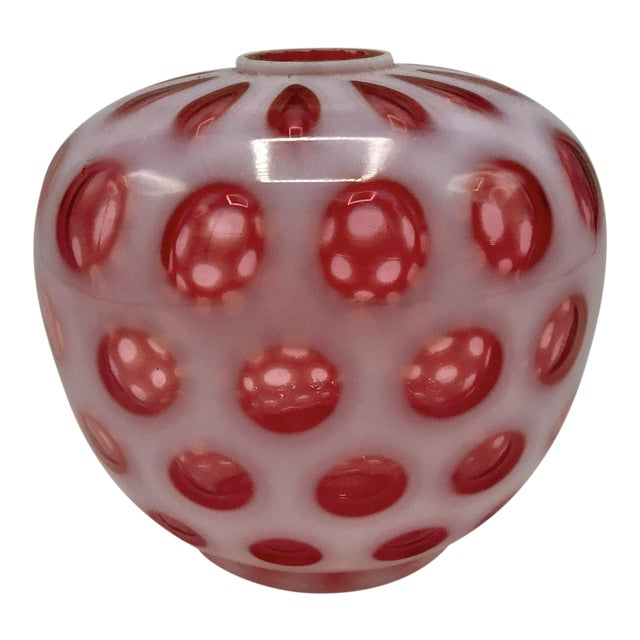 Fenton Coin Dot Cranberry Glass Lamp Globe - Image 1 of 6