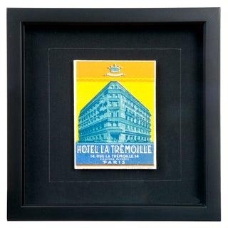 Framed French La Tremoille Hotel Luggage Label
