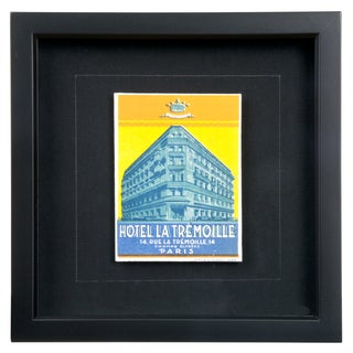 Framed French La Tremoille Hotel Luggage Label
