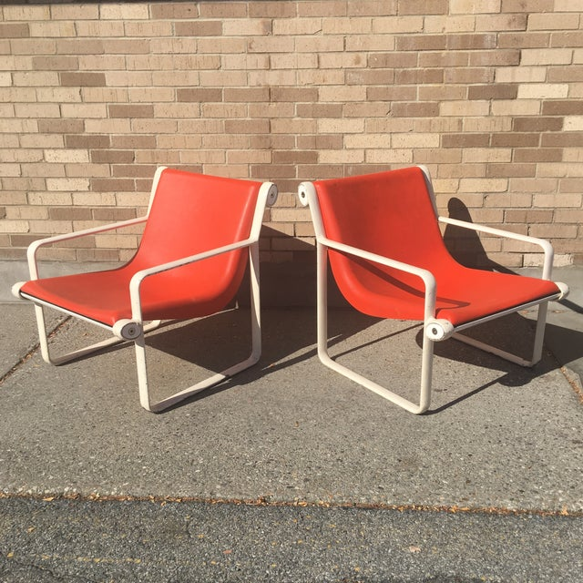 Knoll Iconic Orange Shell Lounge Chairs - A Pair - Image 3 of 8