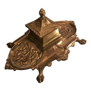 Vintage Brass Inkwell
