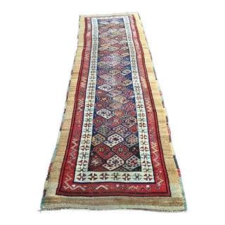 Antique Caucasian Persian Wool Runner Multi Color Paisley - 3′2″ × 10′5″