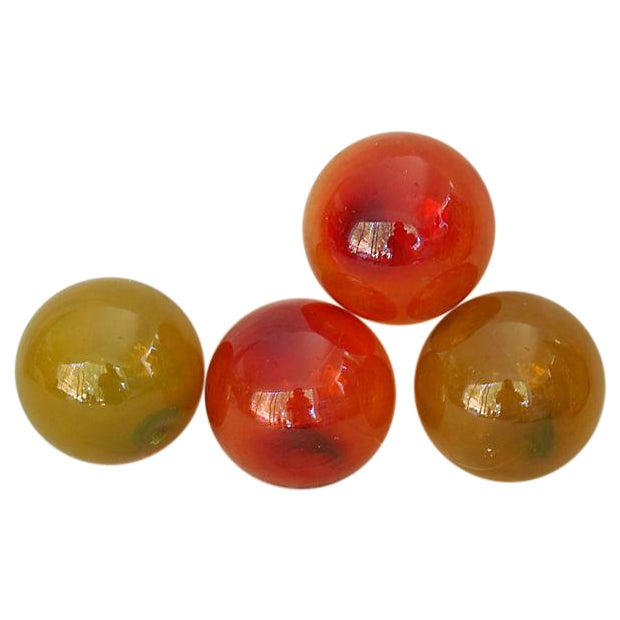 Image of Jumbo Red Gold Glass Fishing Floats - Set of 4