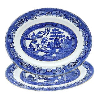 English Willow Pattern Platters - Pair