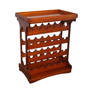 English Yew Wood Serving Table With Wine Rack