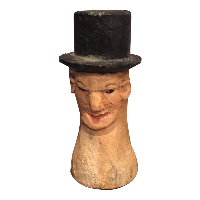 Vintage Folk Art Wooden Head With Hat - Image 1 of 9