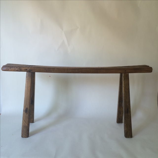 Image of Vintage Rustic Wood Skinny Outdoor Bench