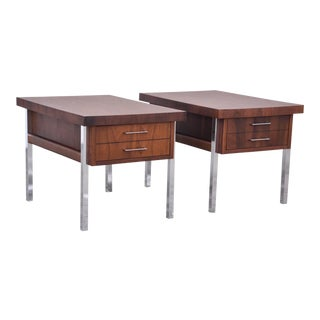 Walnut and Formica End Tables - A Pair