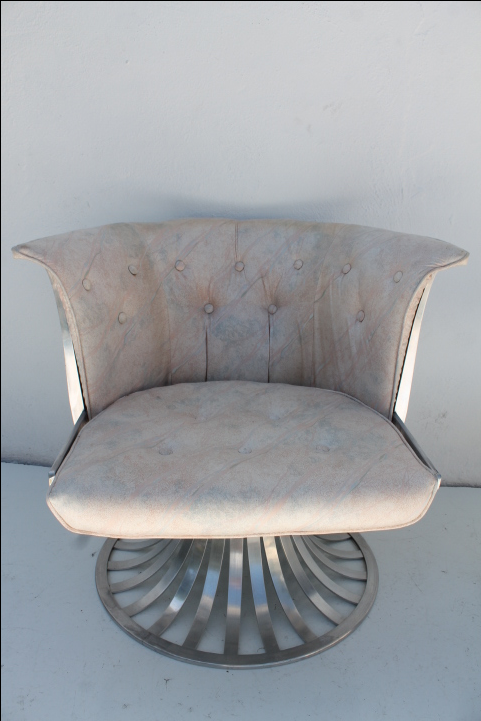 Russell Woodard Swivel Aluminum Chair U0026 Ottoman   Image 5 Of 10