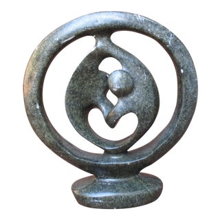 Gray Granite Marble Yin Yang Lovers Fighters Round Sculpture