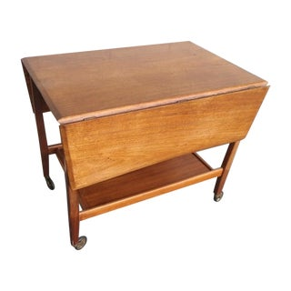 Mid-Century 1960s Walnut Folding Bar Cart