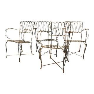 French Forged Armchairs Style of Raymond Subes, 1940 - Set of 4