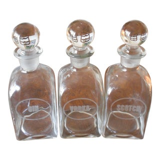 Vintage Clear Glass Decanters - Set of 3