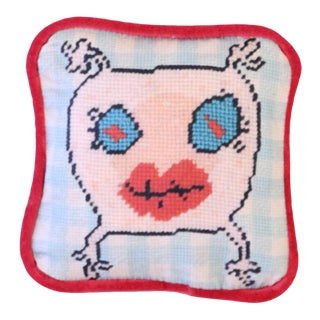 Printed Needlepoint Love Pillow, Handcrafted