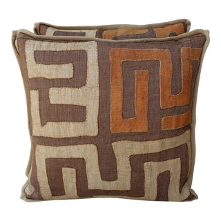 Brown, Wheat & Orange Kuba Cloth Pillows - A Pair