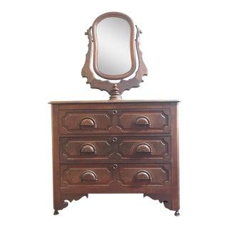 Vintage Mahogany 6 Drawer Vanity Dresser