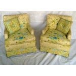 Image of Floral Print Club Chairs by Century - A Pair