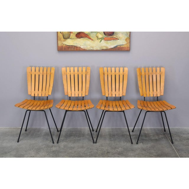 Arthur Umanoff Raymor Mid-Century Slat Chairs, Set/4 - Image 6 of 9