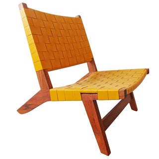 Yellow Interwoven Leather Lounge Chair