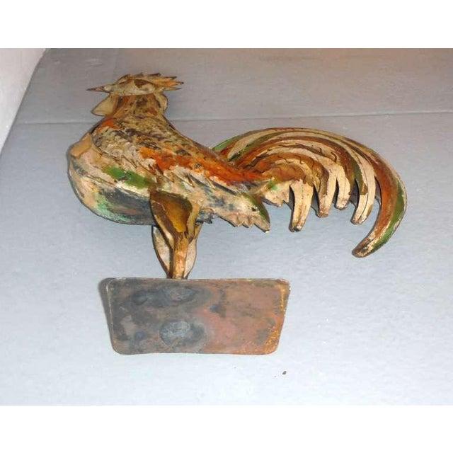 Fantastic Original Painted Folk Art Full Body Rooster Sculpture - Image 6 of 7