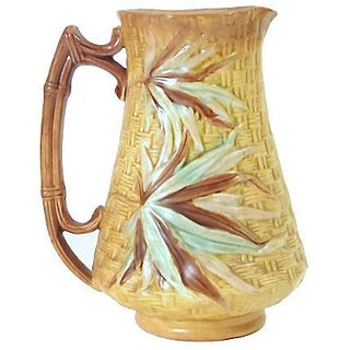 Antique Majolica Basket-Weave & Bamboo Pitcher